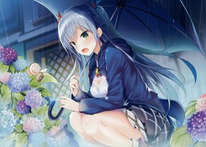 Rating: Safe Score: 120 Tags: animal blush bra breasts cleavage fang flowers gray_hair green_eyes kazu_kakao leaves long_hair rain scan see_through skirt umbrella underwear water white_hair User: mattiasc02