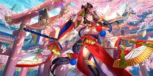 Rating: Safe Score: 76 Tags: ark_journey brown_eyes brown_hair building cherry_blossoms clouds fan flowers fuji_choko japanese_clothes katana long_hair rope sky sword thighhighs torii tree weapon User: BattlequeenYume