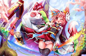 Rating: Questionable Score: 107 Tags: animal animal_ears blush cameltoe collar fish foxgirl japanese_clothes kimono original panties pink_eyes pink_hair striped_panties sword thighhighs tinkvov underwear water weapon wink User: FormX