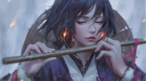 Rating: Safe Score: 173 Tags: black_hair blue_eyes close flute guweiz hat instrument rain realistic ribbons short_hair water User: luckyluna