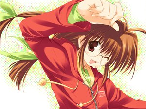 Rating: Safe Score: 3 Tags: blush brown_hair comic_party fang glasses inagawa_yuu kansai leaf mitsumi_misato red_eyes twintails User: Oyashiro-sama