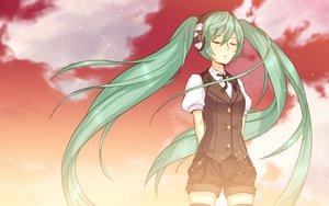Rating: Safe Score: 67 Tags: green_hair hatsune_miku headphones long_hair nidy-2d- twintails vocaloid User: megaki11