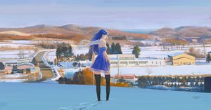 Rating: Safe Score: 41 Tags: building dress landscape long_hair original scarf scenic signed snow thighhighs tree wayne_chan winter zettai_ryouiki User: FormX