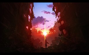 Rating: Safe Score: 60 Tags: building j.taneda long_hair original red ruins scenic signed sunset User: FormX