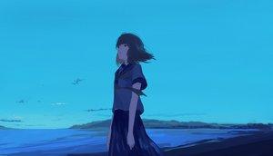 Rating: Safe Score: 43 Tags: black_eyes black_hair blue clouds mifuru original seifuku short_hair skirt sky User: RyuZU