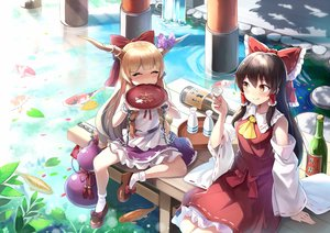 Rating: Safe Score: 45 Tags: 2girls animal black_hair blonde_hair blush bow brown_eyes chain drink emerane fish hakurei_reimu horns ibuki_suika japanese_clothes loli long_hair miko sake touhou waifu2x water wristwear User: RyuZU