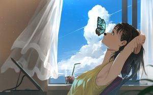 Rating: Safe Score: 88 Tags: black_hair butterfly clouds computer drink original somehira_katsu User: FormX