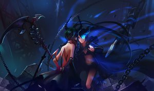 Rating: Safe Score: 257 Tags: black_hair black_rock_shooter chenbo kuroi_mato shorts sword takanashi_yomi weapon User: SciFi