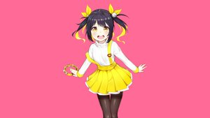 Rating: Safe Score: 54 Tags: black_hair instrument original pantyhose photoshop pink short_hair skirt the_cold twintails yellow_eyes User: RyuZU