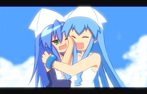 Rating: Safe Score: 46 Tags: blue_hair clouds crossover hug ikamusume izumi_konata loli lucky_star shinryaku!_ikamusume sky User: Black_Rock_Shooter
