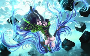 Rating: Safe Score: 75 Tags: blue_hair hatsune_miku long_hair stockings twintails vocaloid water yusuke User: humanpinka