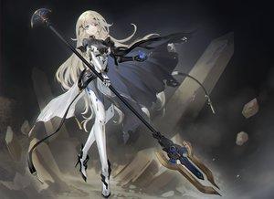 Rating: Safe Score: 67 Tags: armor asukayou blonde_hair blue_eyes bodysuit cape long_hair original spear techgirl weapon User: mattiasc02