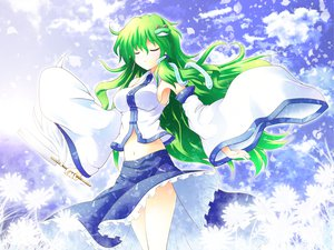 Rating: Safe Score: 55 Tags: animal dress frog green_hair japanese_clothes kochiya_sanae long_hair miko navel shin_osada snake touhou User: opai
