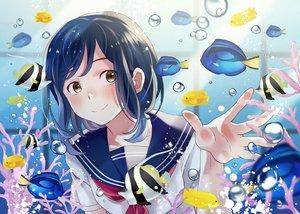 Rating: Safe Score: 23 Tags: animal blue_hair blush brown_eyes bubbles fish nanaminn original seifuku underwater water User: RyuZU
