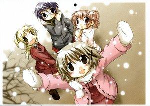 Rating: Safe Score: 3 Tags: hidamari_sketch hiro miyako sae snow ume_aoki yuno User: Oyashiro-sama