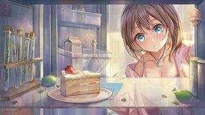 Rating: Safe Score: 30 Tags: aqua_eyes blush breasts brown_hair cake cleavage food fruit necklace original strawberry yahiro_(heartseek000) User: BattlequeenYume
