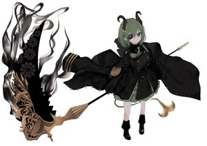 Rating: Safe Score: 52 Tags: blue_eyes boots demon eyepatch green_hair honey_strap horns military naruwe pointed_ears scythe sekishiro_mico short_hair tie uniform weapon white User: otaku_emmy