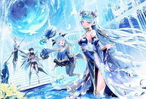 Rating: Safe Score: 120 Tags: 2girls aliasing black_hair blonde_hair blush bubbles building dress green_eyes green_hair group king's_raid laias_(king's_raid) lilia_(king's_raid) lucias_(king's_red) male mullpull neraxis_(king's_raid) pointed_ears short_hair staff stairs thighhighs water watermark weapon wings wink User: BattlequeenYume