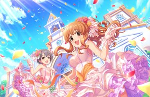 Rating: Safe Score: 12 Tags: 2girls animal annin_doufu bell bird brown_eyes brown_hair building cat_smile clouds dress flowers gloves gray_eyes gray_hair idolmaster idolmaster_cinderella_girls idolmaster_cinderella_girls_starlight_stage long_hair moroboshi_kirari necklace otokura_yuuki petals ponytail ribbons short_hair sky User: RyuZU