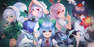 Rating: Safe Score: 39 Tags: animal_ears bunny_ears bunnygirl cirno dqn_(dqnww) fairy group izayoi_sakuya konpaku_youmu long_hair pointed_ears reisen_udongein_inaba shameimaru_aya short_hair sword touhou weapon User: Dreista