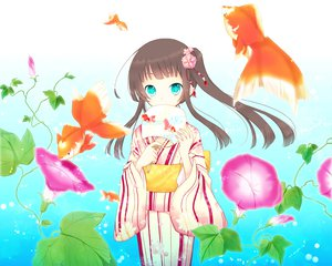 Rating: Safe Score: 57 Tags: animal aqua_eyes brown_hair fish flowers goma_(11zihisin) japanese_clothes kimono original water User: Maboroshi