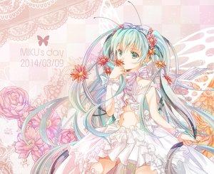 Rating: Safe Score: 87 Tags: bow dress flowers hatsune_miku iroha_(shiki) long_hair navel vocaloid wings User: FormX