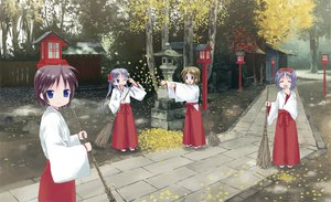 Rating: Safe Score: 43 Tags: autumn blue_eyes blue_hair bow brown_hair group hiiragi_inori hiiragi_kagami hiiragi_matsuri hiiragi_tsukasa isou_nagi japanese_clothes leaves long_hair lucky_star miko short_hair shrine tree wink User: HawthorneKitty