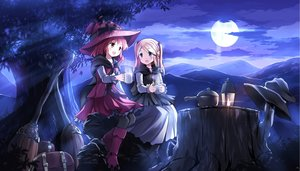 Rating: Safe Score: 97 Tags: 2girls aliasing blonde_hair boots clouds drink hat moon night original red_hair risutaru tree witch_hat User: Flandre93