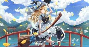Rating: Safe Score: 61 Tags: animal apron bird clouds hat kerno kirisame_marisa long_hair sky torii touhou water witch witch_hat User: BattlequeenYume