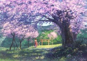 Rating: Safe Score: 80 Tags: cherry_blossoms grass japanese_clothes kimono original scenic signed somei_yoshinori torii tree User: RyuZU