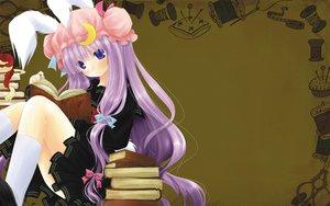 Rating: Safe Score: 35 Tags: apple book brown food fruit hat kneehighs long_hair patchouli_knowledge purple_eyes purple_hair school_uniform shiromomo touhou User: birdy73