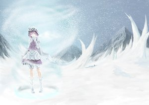 Rating: Questionable Score: 54 Tags: akaikitsune boots hat letty_whiterock purple_eyes purple_hair shorts snow touhou User: Leia_Dark_Madness