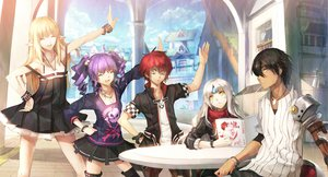 Rating: Safe Score: 203 Tags: aisha_(elsword) black_hair blonde_hair book boots clouds cross dress elsword elsword_(character) eve_(elsword) gray_hair group long_hair male necklace pointed_ears purple_hair raven_(elsword) red_hair rena_(elsword) scorpion5050 short_hair skirt sky sword twintails weapon white_hair wristwear yellow_eyes User: w7382001
