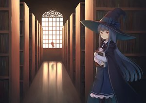 Rating: Safe Score: 53 Tags: animal bird black_hair book bow brown_eyes cape dress hat hoodie long_hair luins-104 original owl witch witch_hat User: RyuZU