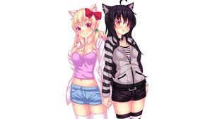 Rating: Safe Score: 83 Tags: 2girls animal_ears betsy black_hair blonde_hair blush bow catgirl choker fast-runner-2024 hoodie long_hair naala navel original red_eyes shorts thighhighs twintails white yellow_eyes User: gnarf1975