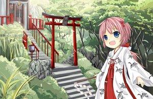 Rating: Safe Score: 49 Tags: aliasing bell blue_eyes building japanese_clothes jpeg_artifacts leaves loli long_hair miko pink_hair rope sakuraba_hikaru_(loveindog) shrine torii tree User: gnarf1975