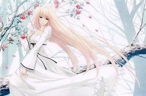 Rating: Safe Score: 74 Tags: blonde_hair caucasus dress flowers long_hair nanatsuki_shion petals red_eyes sugina_miki tree User: luckyluna