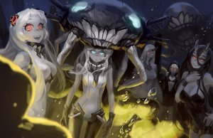 Rating: Safe Score: 84 Tags: airfield_hime aqua_eyes battleship-symbiotic_hime black_hair blue_eyes bra breasts bubbles cleavage doyora gloves group hoodie horns kantai_collection long_hair re-class_battleship red_eyes seaport_hime underwater underwear water white_hair wo-class_aircraft_carrier User: mattiasc02