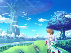 Rating: Safe Score: 18 Tags: alicia_infans blue_hair clouds game_cg grass magus_tale school_uniform sky tenmaso tree whirlpool User: Oyashiro-sama