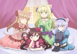 Rating: Safe Score: 42 Tags: ada_vessalius alice_(pandora_hearts) animal_ears bed blonde_hair blue_eyes blue_hair boots bow brown_hair catgirl dress echo green_eyes lolita_fashion long_hair pandora_hearts sharon_rainsworth short_hair tail thighhighs User: HawthorneKitty