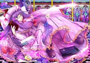 Rating: Safe Score: 20 Tags: book bow dress hongmao long_hair mage magic patchouli_knowledge petals purple_eyes purple_hair ribbons touhou User: RyuZU