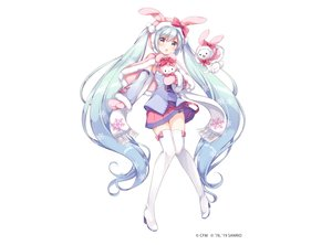 Rating: Safe Score: 72 Tags: animal animal_ears aqua_eyes aqua_hair blush boots bow bunny_ears cape gloves gomano_rio hatsune_miku hello_kitty_(character) hoodie long_hair rabbit sanrio scarf skirt thighhighs tie twintails vocaloid white yuki_miku yukine_(vocaloid) zettai_ryouiki User: otaku_emmy
