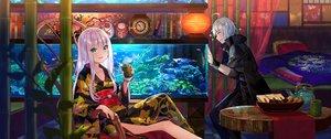 Rating: Safe Score: 66 Tags: animal aqua_eyes book drink fish fuji_choko japanese_clothes kenja_no_deshi_wo_nanoru_kenja kimono long_hair male sakimori_kagami tagme_(character) waifu2x white_hair User: RyuZU