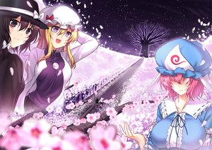 Rating: Safe Score: 10 Tags: blonde_hair bow breasts brown_eyes brown_hair cherry_blossoms flowers hat koissa long_hair maribel_han necklace petals pink_hair purple_eyes saigyouji_yuyuko short_hair touhou tree usami_renko User: RyuZU