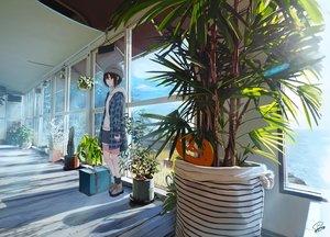 Rating: Safe Score: 48 Tags: black_eyes black_hair clouds flowers hat kneehighs original pumpkin sakeharasu scenic short_hair shorts signed sky water User: RyuZU