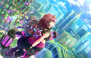 Rating: Safe Score: 58 Tags: brown_hair building city clouds flowers gloves green_eyes ichinose_shiki idolmaster idolmaster_cinderella_girls_starlight_stage landscape long_hair mask ruins scenic sky tagme_(artist) water waterfall User: BattlequeenYume