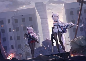 Rating: Safe Score: 69 Tags: 2girls animal_ears blood boots breasts cape catgirl cleavage f_(milfaaaaa) gloves green_eyes gun knife long_hair original pantyhose purple_eyes short_hair skirt tail tie translation_request weapon white_hair User: RyuZU