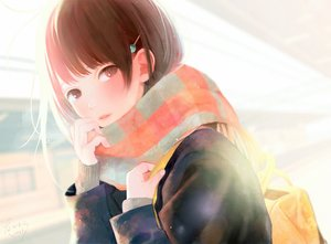 Rating: Safe Score: 37 Tags: brown_eyes brown_hair hinata_(lipcream) original scarf school_uniform short_hair signed User: RyuZU