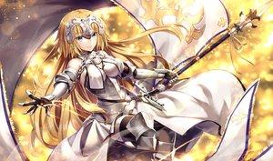 Rating: Safe Score: 88 Tags: aliasing aqua_eyes armor blonde_hair chain dress elbow_gloves fate/grand_order fate_(series) gabiran gloves headdress jeanne_d'arc_(fate) long_hair spear thighhighs weapon User: RyuZU