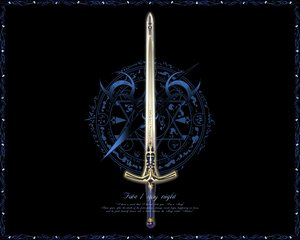 Rating: Safe Score: 36 Tags: fate_(series) fate/stay_night logo nobody sword weapon User: Oyashiro-sama